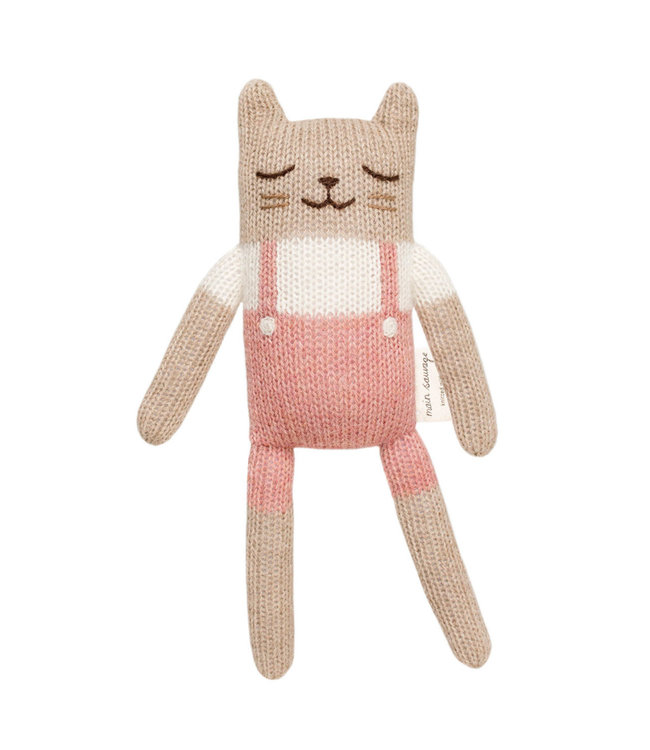 Kitten soft toy - rose overalls