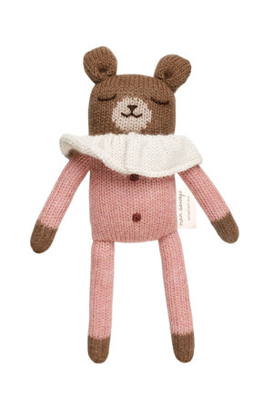 Main Sauvage Teddy soft toy - rose overalls
