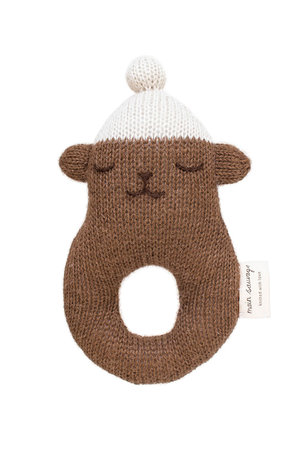 Main Sauvage Rattle teddy - brown with white beanie