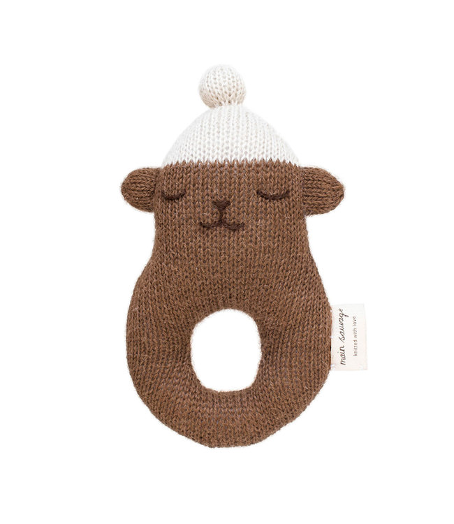 Rattle teddy - brown with white beanie