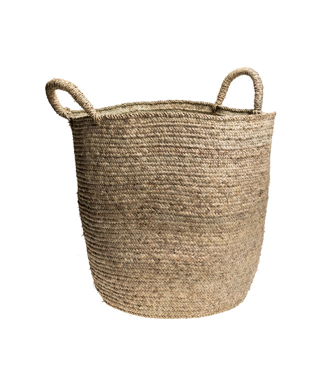 Couleur Locale High basket palm leaf with 2 handles