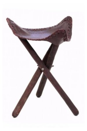 Couleur Locale Wooden stool with leather seat