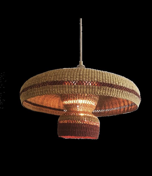 Hanging lamp 'hatter & 2 tier' - natural/ginger