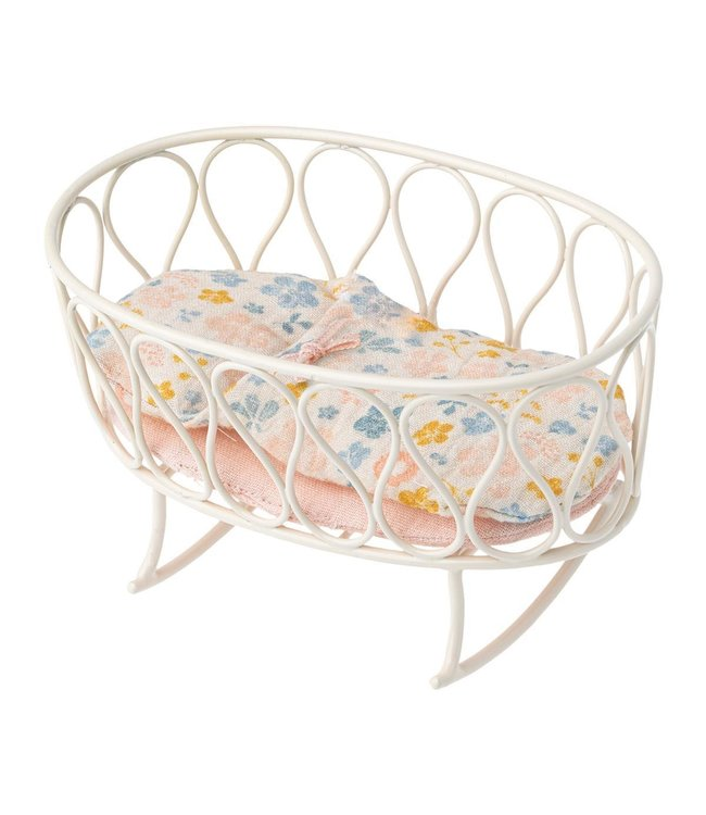 Maileg Cradle w. sleeping bag, Micro - off-white