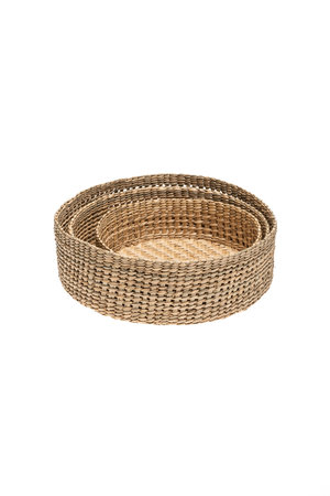 The Dharma Door Trio of round grass baskets - low
