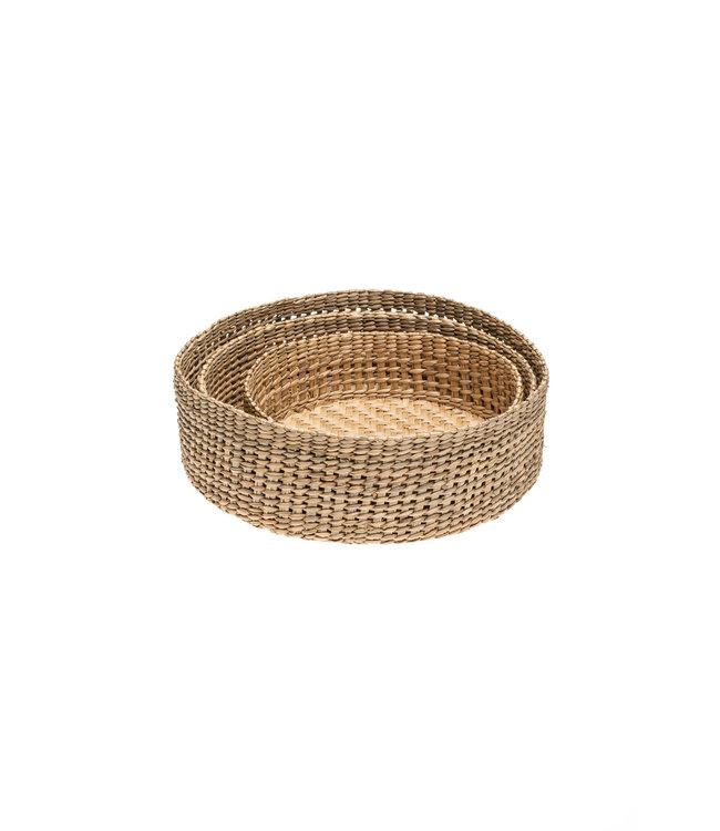 Trio of round grass baskets - low