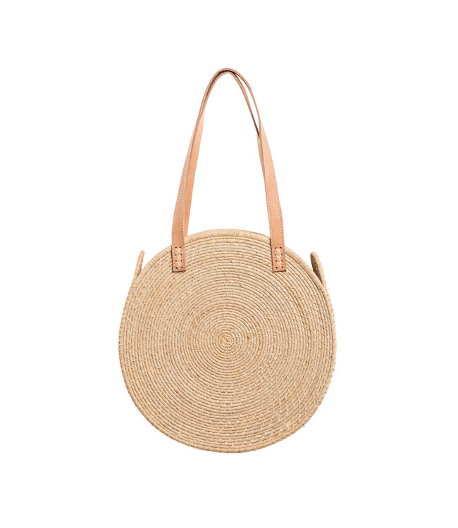 Shopper round with leather handles