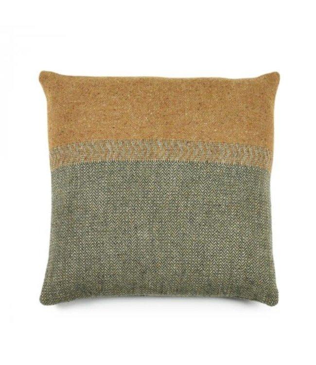 Jules deco cushion - green Herringbone