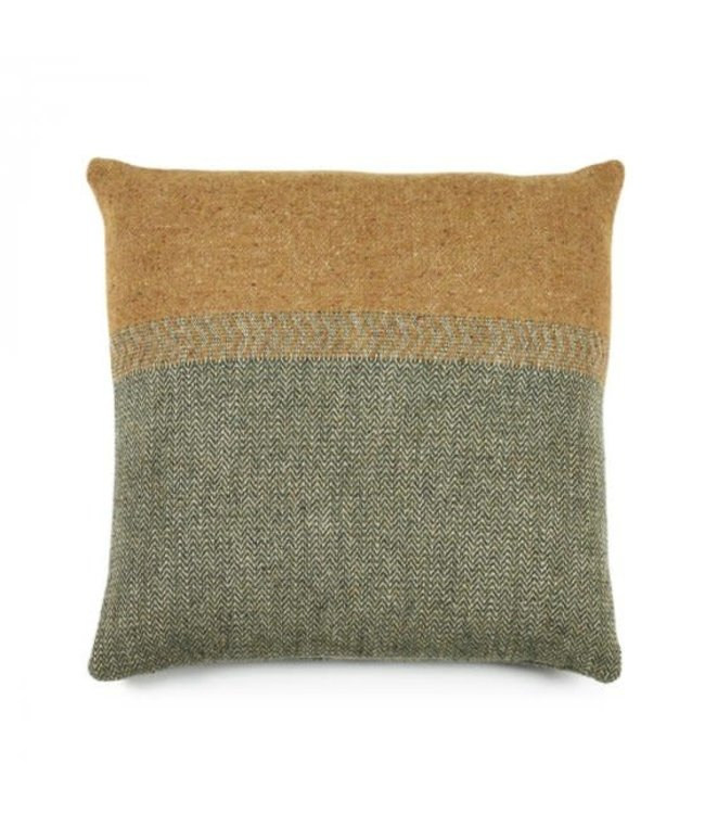 Libeco Jules deco cushion - green Herringbone