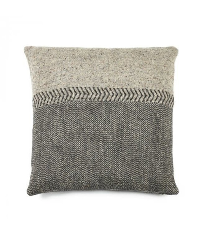 Libeco Jules deco cushion - black Herringbone