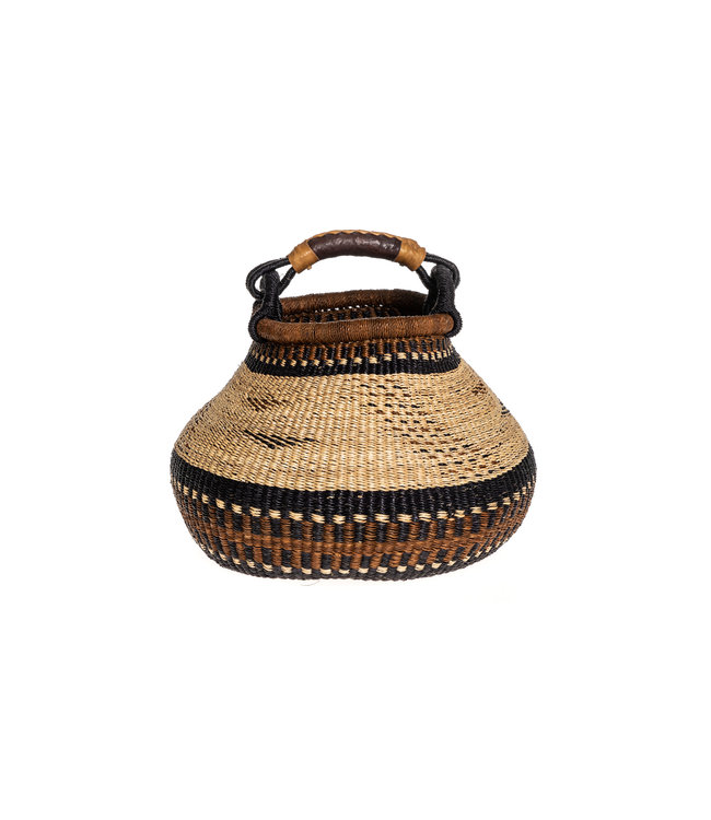 Bolga pot basket earth tones #4