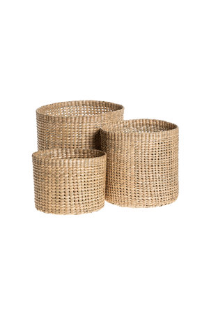 The Dharma Door Trio of round grass baskets - tall
