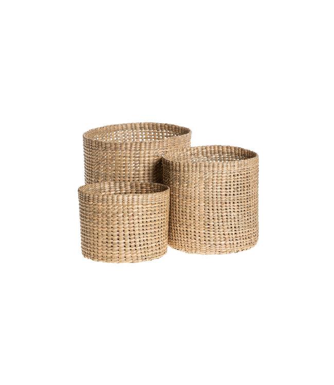 Trio of round grass baskets - tall