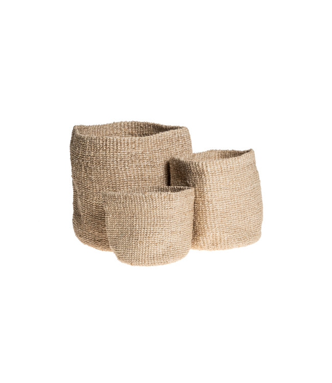 Trio of woven pots - natural