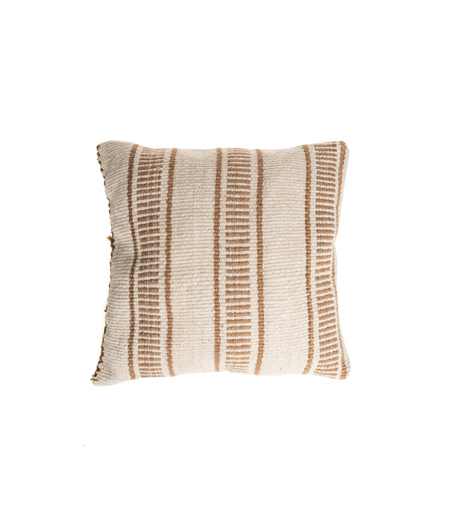 Cushion alpaca - dotted line/stripe - camel