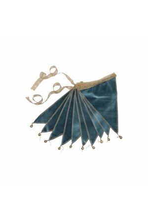 Numero 74 Bunting garland velvet - teal blue