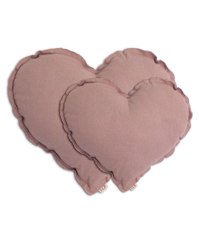 Hart kussen - dusty pink