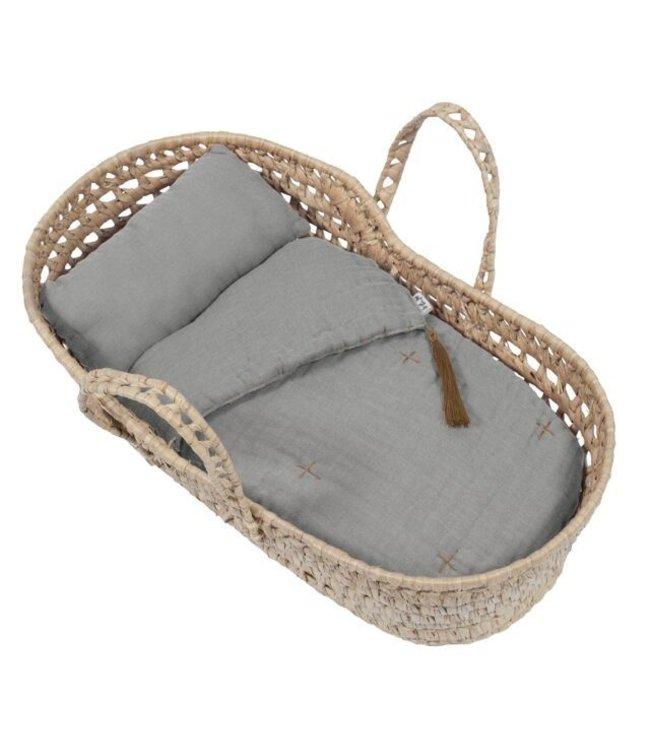 Bedlinen for doll basket - silver grey