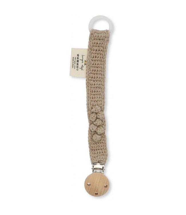 Konges Sløjd Pacifier strap knit cotton - brown melange
