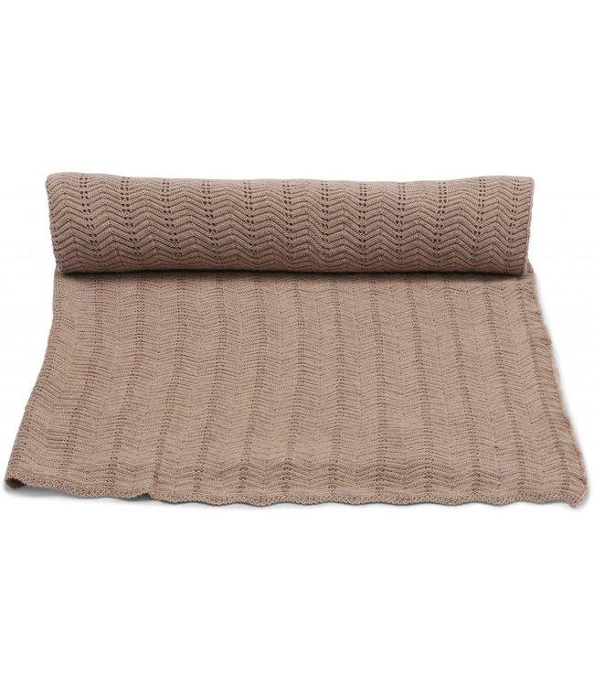 Konges Sløjd Blanket pointelle deux  - brown melange