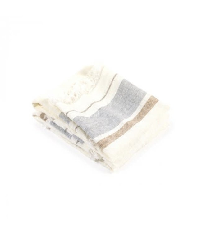 The Belgian towel fouta - oyster stripe