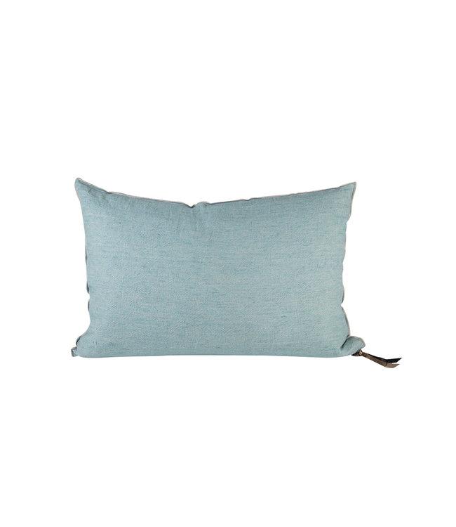 Maison de Vacances Cushion vice versa,  crumpled washed linen - aqua/givré