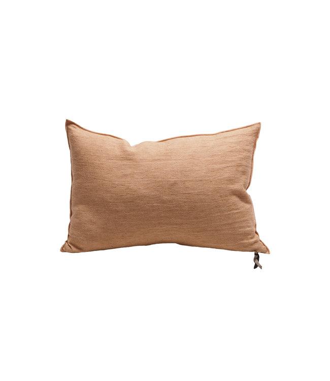 Cushion vice versa, crumpled washed linen - terracotta/givré
