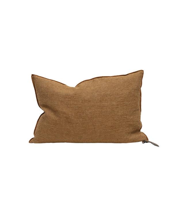 Maison de Vacances Cushion vice versa, crumpled washed linen - havane/givré