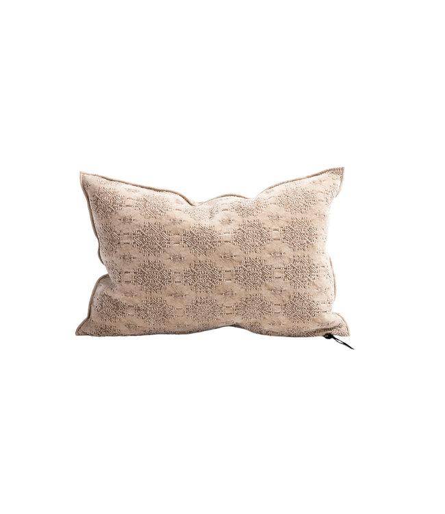 Cushion vice versa, stone washed jacquard kilim - nude