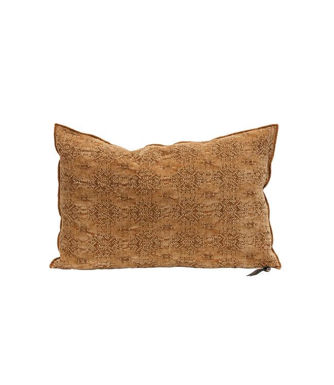 Cushion vice versa, stone washed jacquard kilim - terracotta