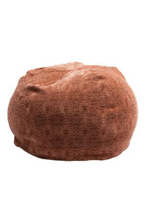 Maison de Vacances Poef bulle - stone washed jacquard - kilim argile