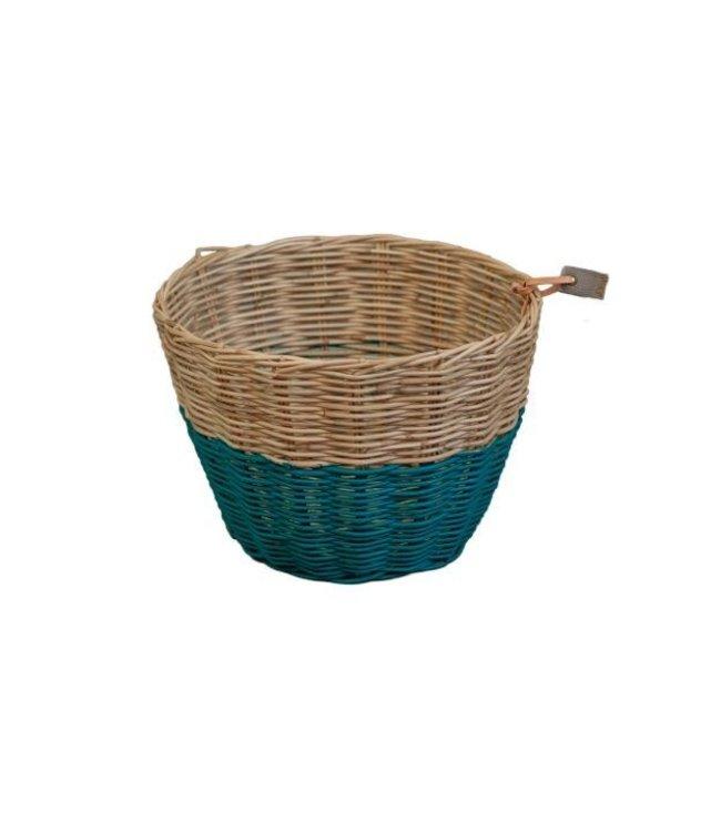 Rattan basket - teal blue