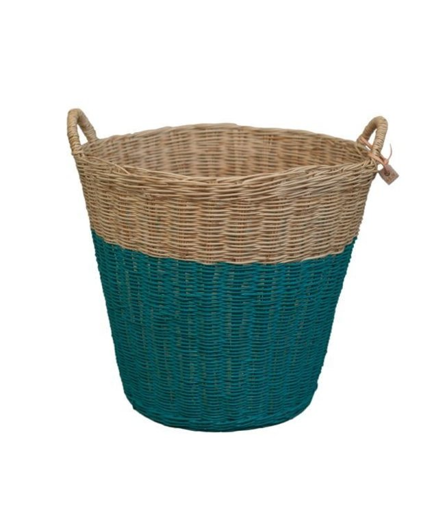 Numero 74 Rattan basket - teal blue