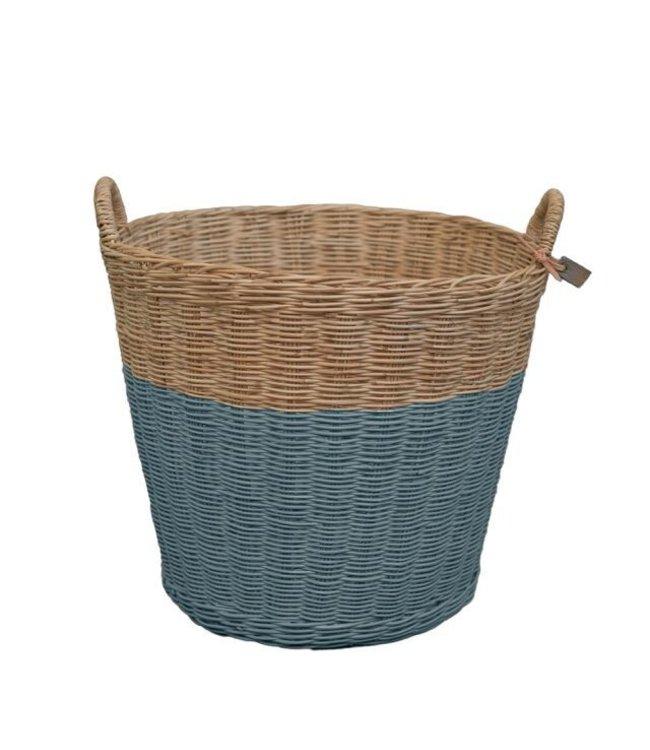Rattan basket - ice blue