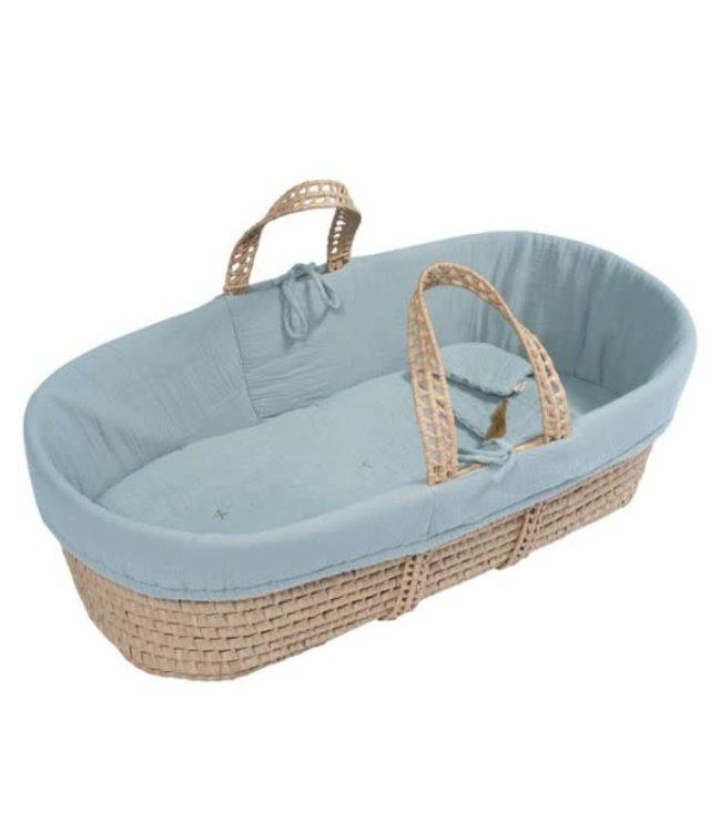 Bed linen for moses basket - sweet blue