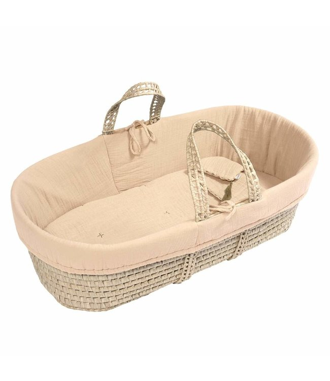 Bed linen for moses basket - pale peach