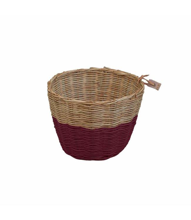 Rattan basket - red macaron
