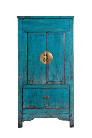High cabinet with 4 doors, blue