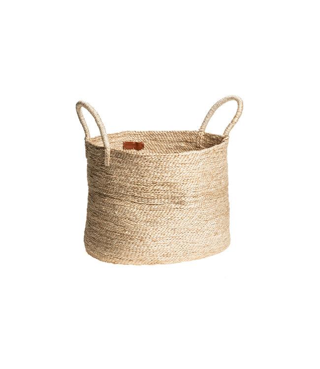 Large round jute basket - natural