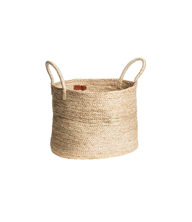 The Dharma Door Large round jute basket - natural