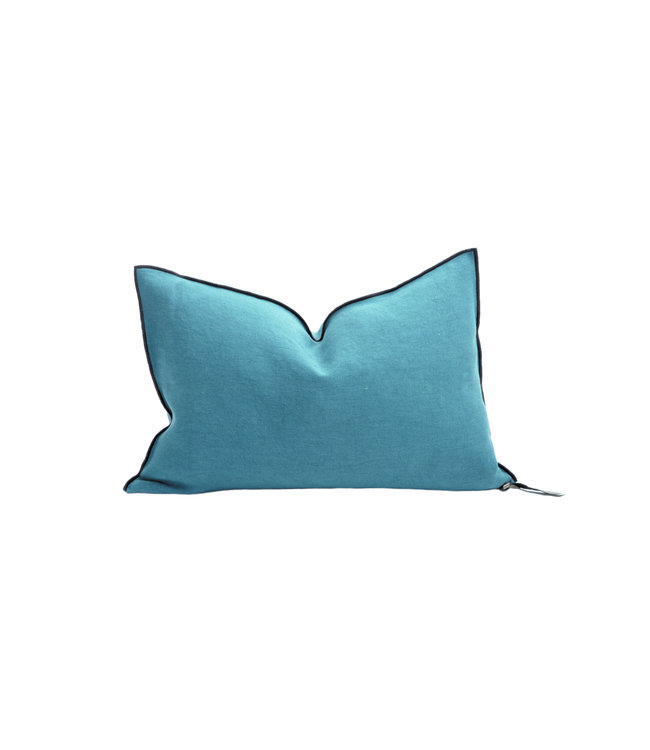 Cushion vice versa black line, stone washed linen - paon