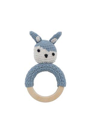 Sebra Crochet rattle, Siggy on ring, powder blue