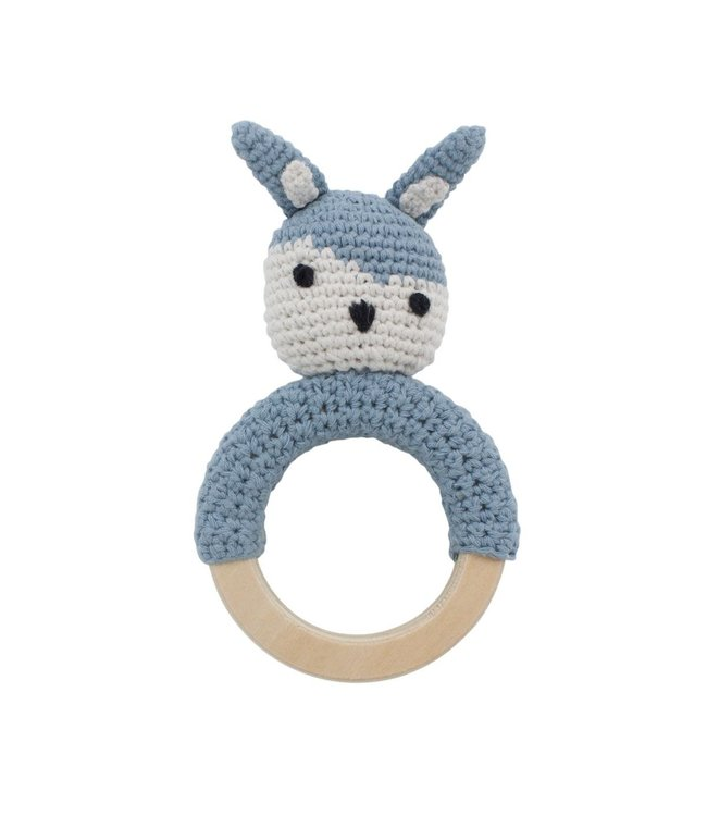 Crochet rattle, Siggy on ring, powder blue