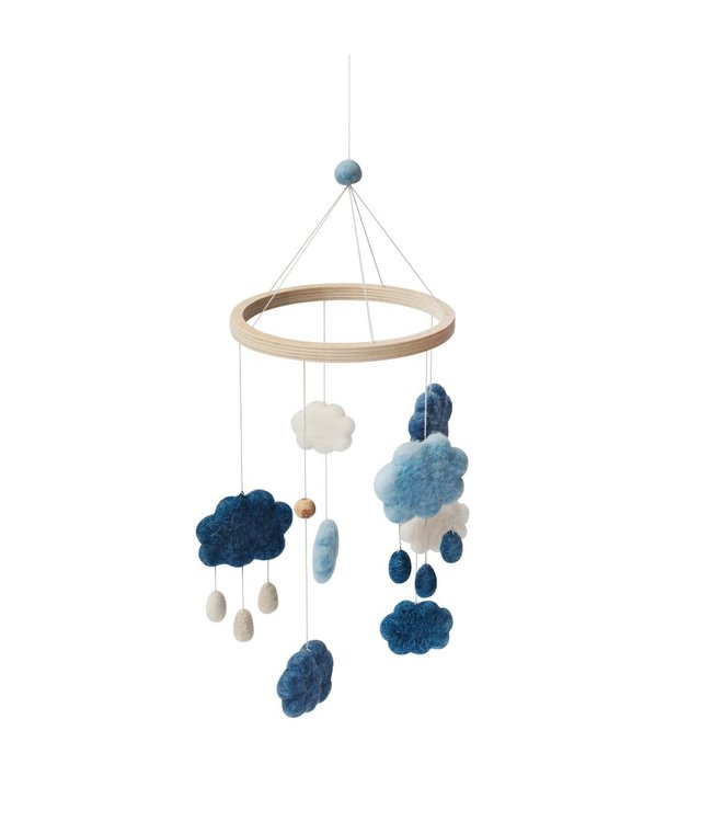 Sebra Felted baby mobile with clouds - denim blue