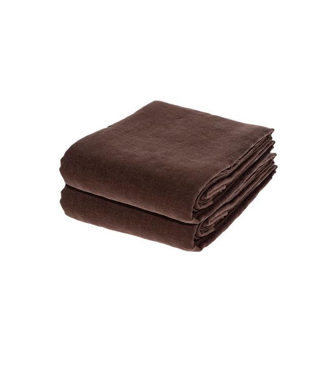 Linge Particulier Dekbedovertrek linnen - dark brown