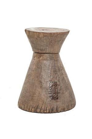 Oude vijzel - kruk Tonga bruin M - #3