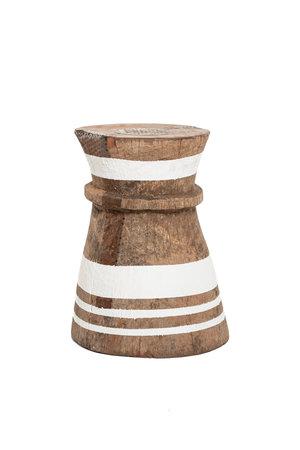 Oude vijzel - kruk Tonga met witte strepen M - #3