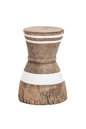 Oude vijzel - kruk Tonga met witte strepen M - #9