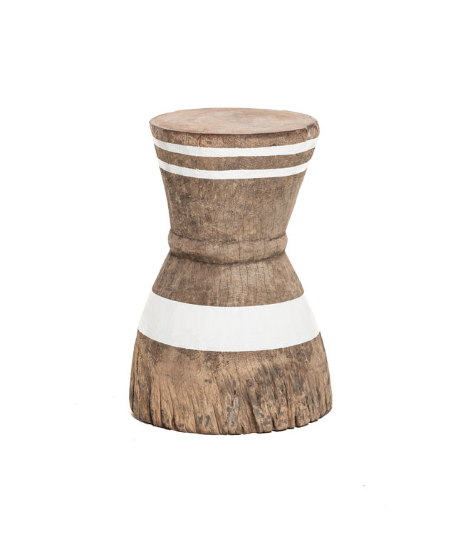 Mortar - stool Tonga stripe white M - #9