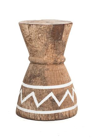 Oude vijzel - kruk Tonga met witte strepen L - #1